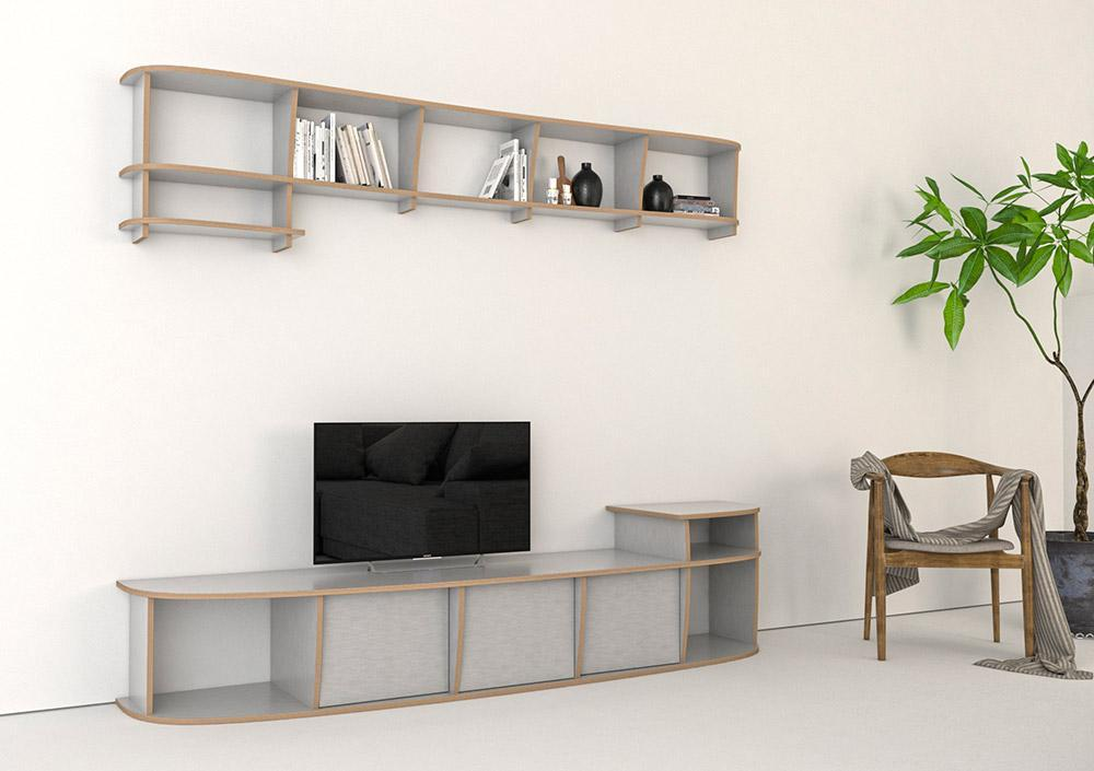Evi-bookcases, bookshelves, living room, TV cabinet, TV stand, TV wall, wall shelves, wood-formbar.co.za