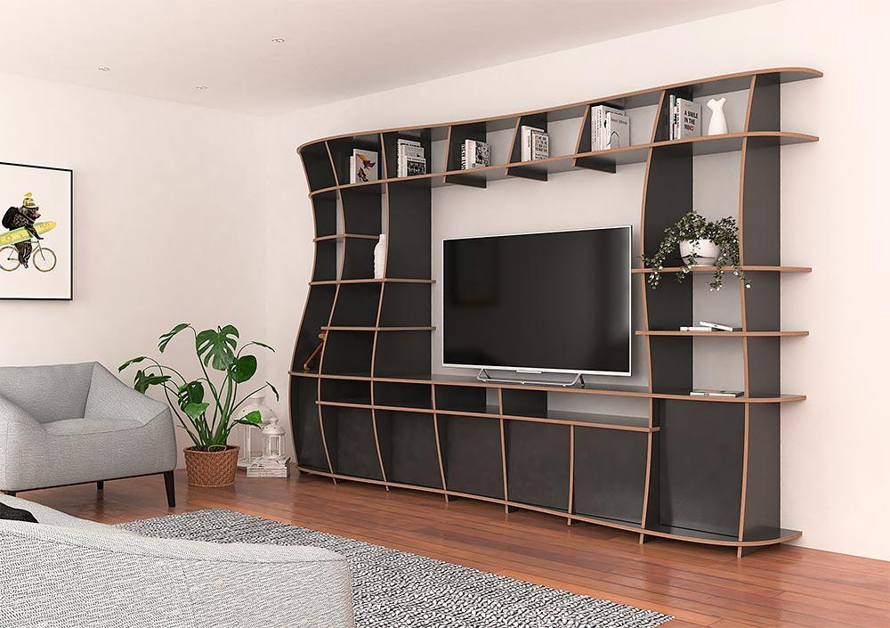 Giuseppa-living room, TV cabinet, TV stand, TV wall, wall shelves, wood-formbar.co.za
