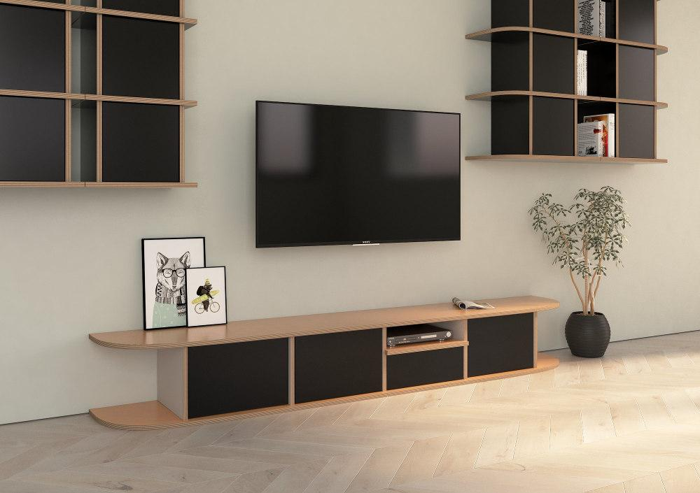 Hugo-living room, TV cabinet, TV stand, TV wall, wood-formbar.co.za