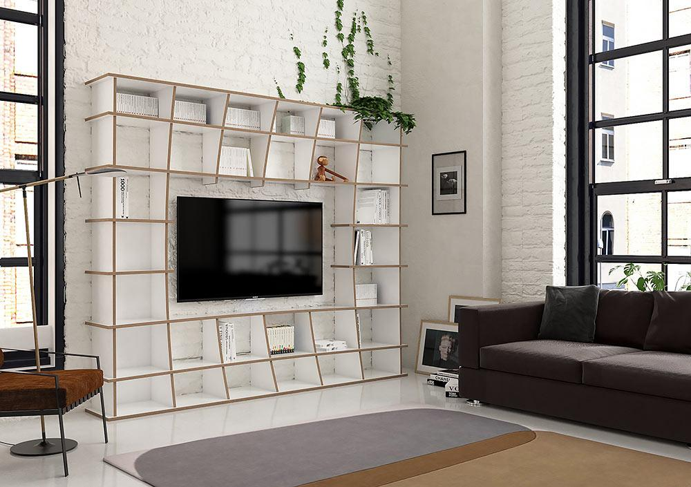 Jinga-bookcases, bookshelves, living room, TV cabinet, TV stand, TV wall, wall shelves, wood-formbar.co.za