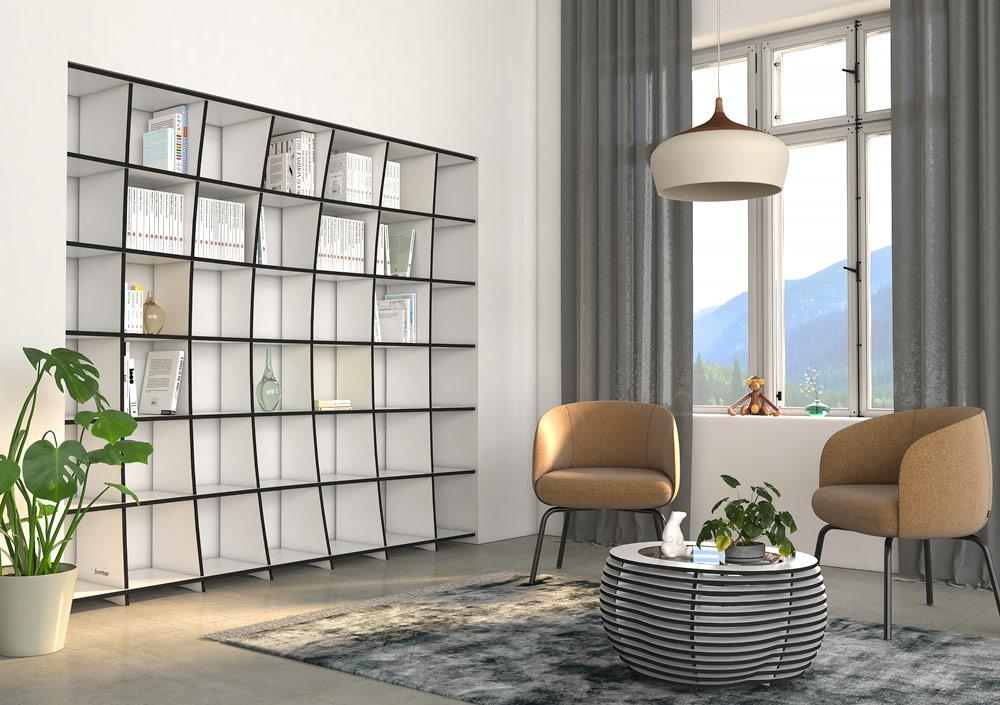 Kava-bookcases, bookshelves, libraries, living room, wall shelves, wood-formbar.co.za