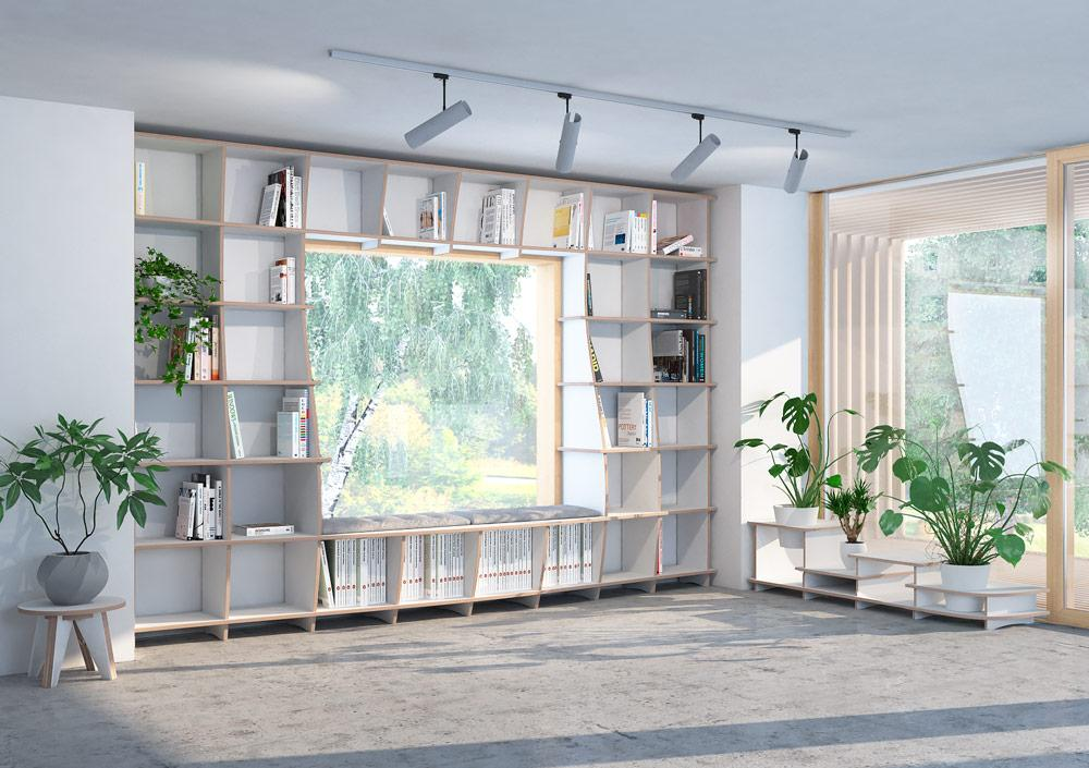 Sinfonia-bookcases, bookshelves, libraries, living room, lounge, wall shelves-formbar.co.za