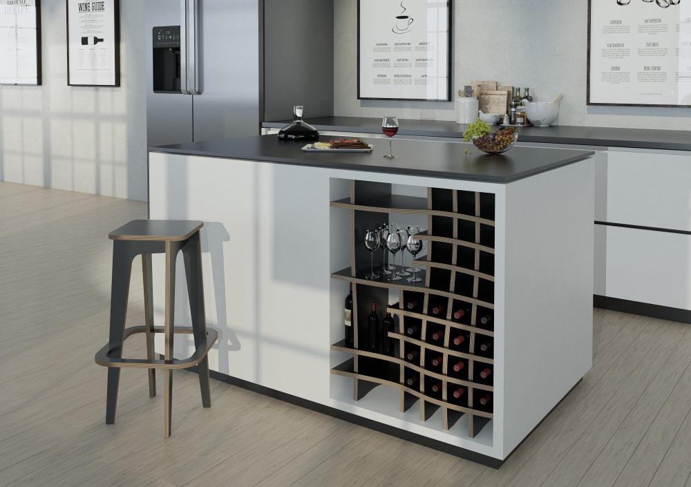 Vinny-kitchen cupboards, kitchen units, modern kitchen design, wine, wine rack-formbar.co.za