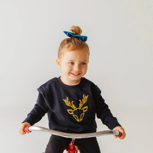 Ferne McCann Navy & Yellow Gold Embroidered Deer Jumper