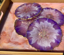 Load image into Gallery viewer, Purple Flower Resin Coasters. Set of 4