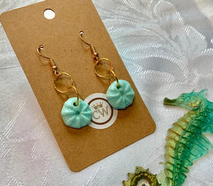 Delicate turquoise Sea Urchin Earrings - made to order