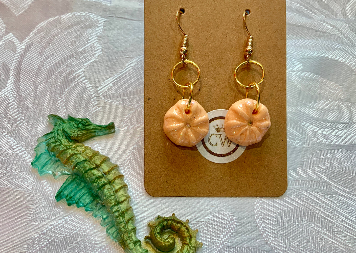 Delicate Coral Sea Urchin Earrings