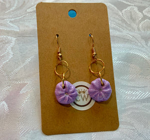 Delicate Lavender Sea Urchin Earrings