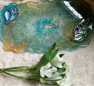 Decorative Sea shell Resin Serving Tray/Centrepiece
