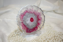 Load image into Gallery viewer, Clear, Pinks and edged in Silver Resin Drinks Coasters