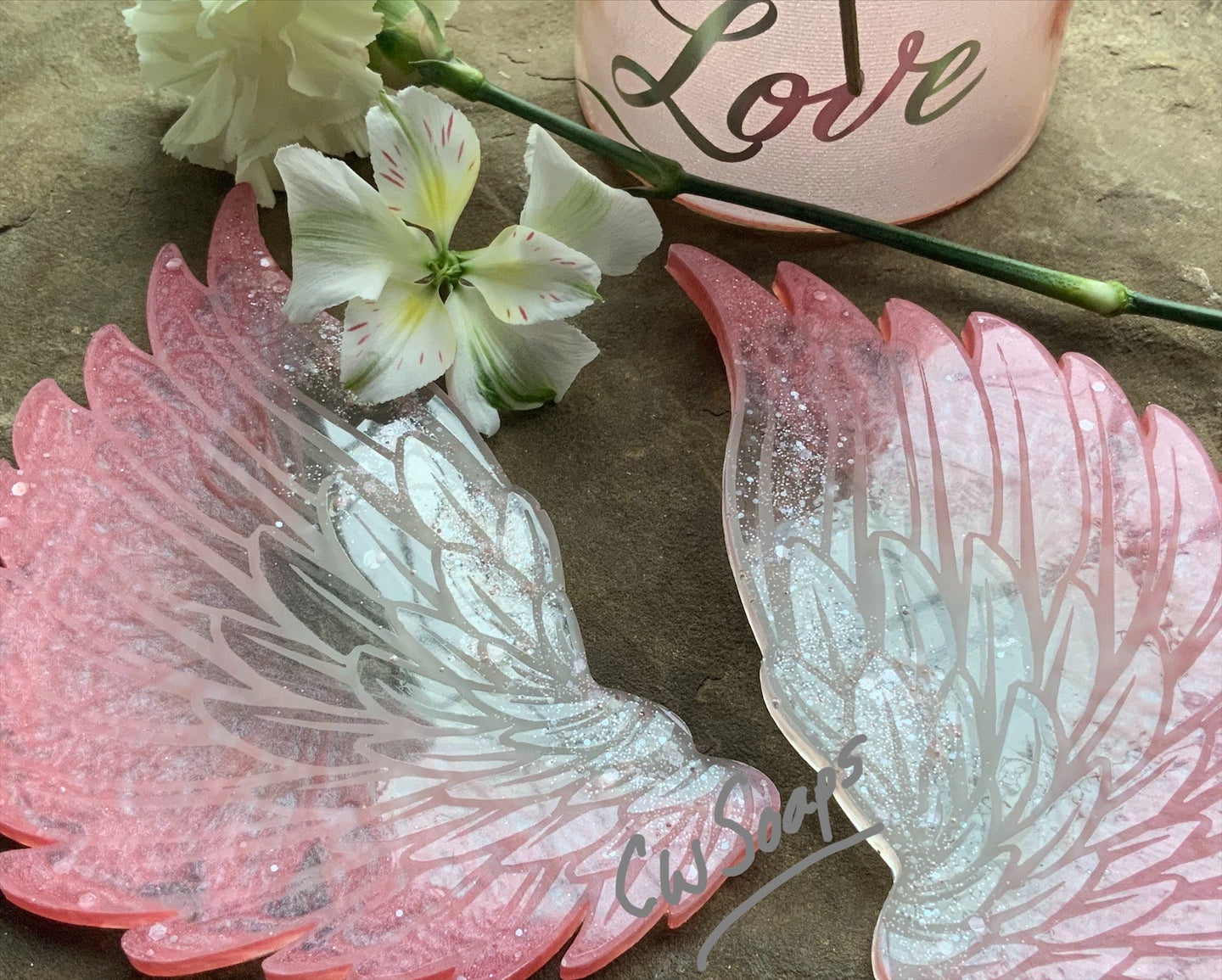 Set of Angel Wings Coasters. Available in Blue: Pink: Purple