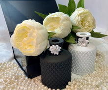 Load image into Gallery viewer, Matt White Geo Diffuser Bottle. Premium Black Gloss Magnetic Gift/Keepsake Box