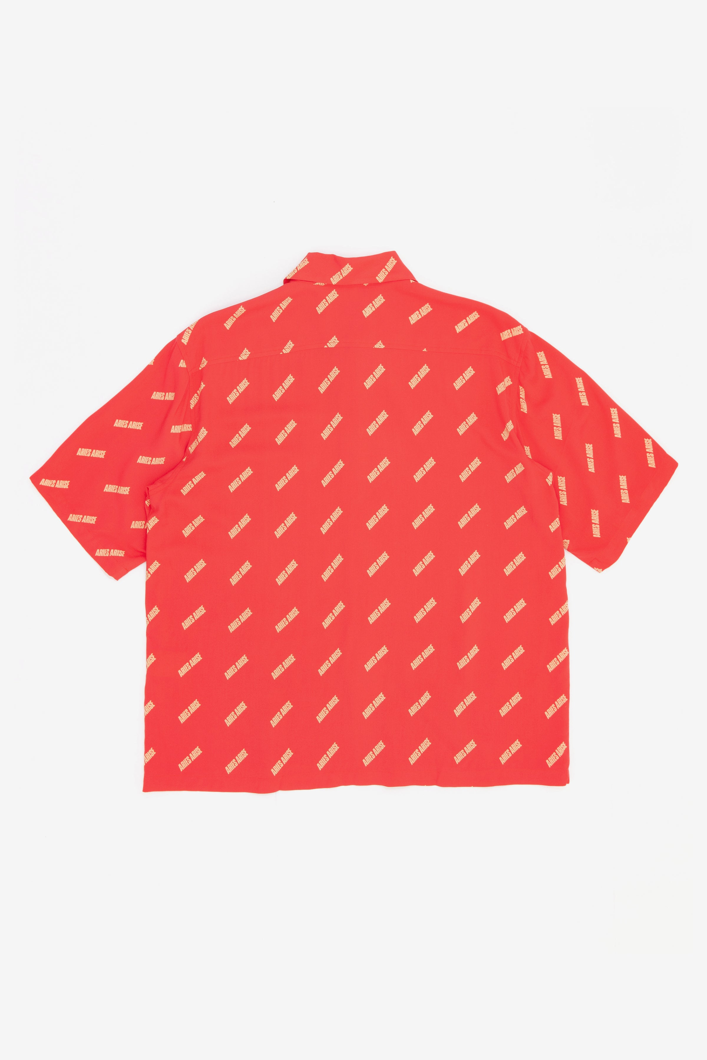 Aries logo print bowling shirt Red