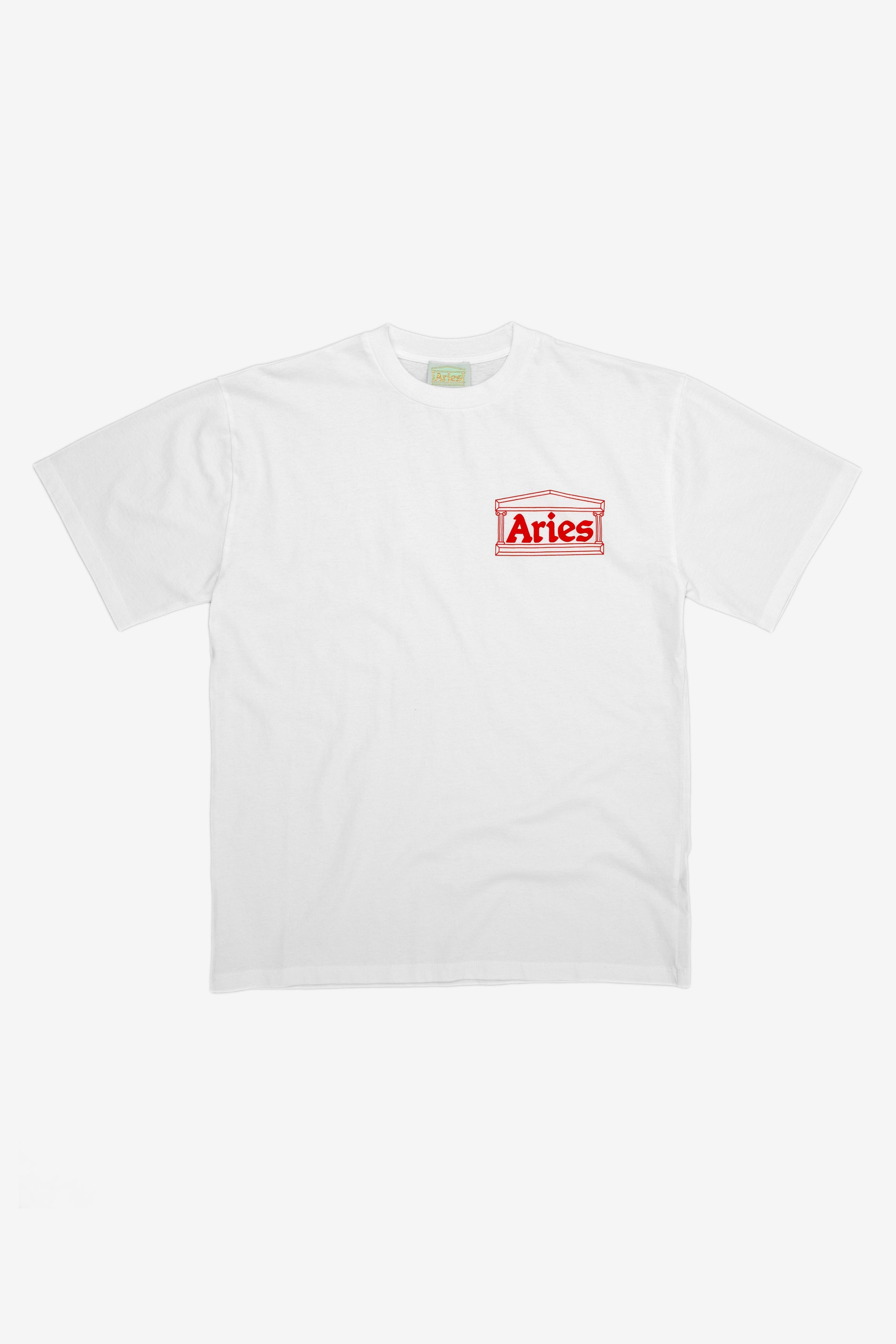 Aries Temple Logo T-Shirt White/Red