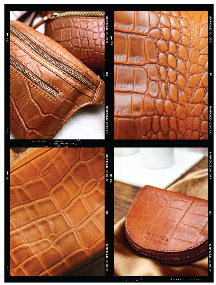 Cognac Croco Leather different patterns