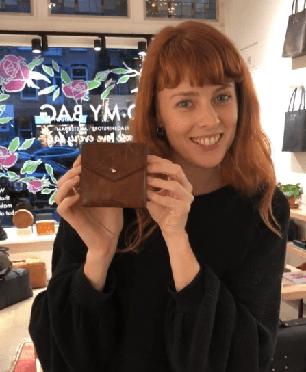 Hayley and her second-hand Georgies Wallet