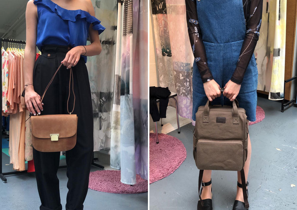 Outfits by Lena the Fashion Library<br /> Left: Meghan, Camel Hunter Leather Right: Billie's Backpack, Olive Waxed Canvas