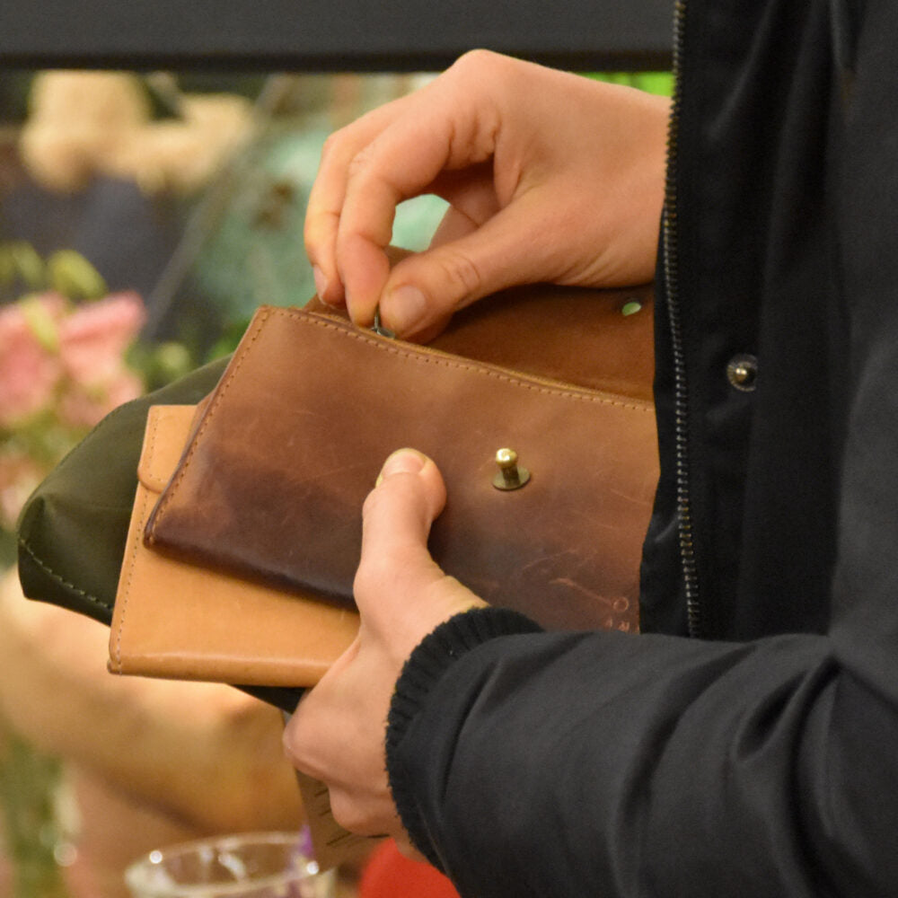 Pre-Loved wallets at our sample sale 2018