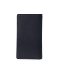 Black leather fold over travel wallet. Rectangle shape. Back product image.