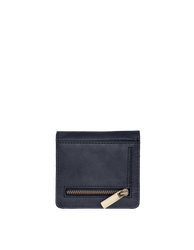 Alex's Fold-over Wallet Classic Leather navy colour. Medium size, square shaped wallet, back image