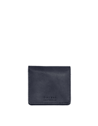 Alex's Fold-over Wallet Classic Leather navy colour. Medium size, square shaped wallet, front image