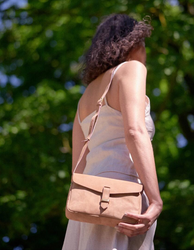 Ally Midi Hunter Leather Shoulder Bag Camel by O My Bag. Lifestyle image
