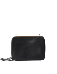 Black Leather womens crossbody bag. Square shape with an adjustable strap. Back product image