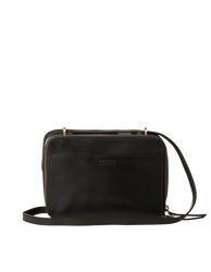 Black Leather womens crossbody bag. Square shape with an adjustable strap. Front product image