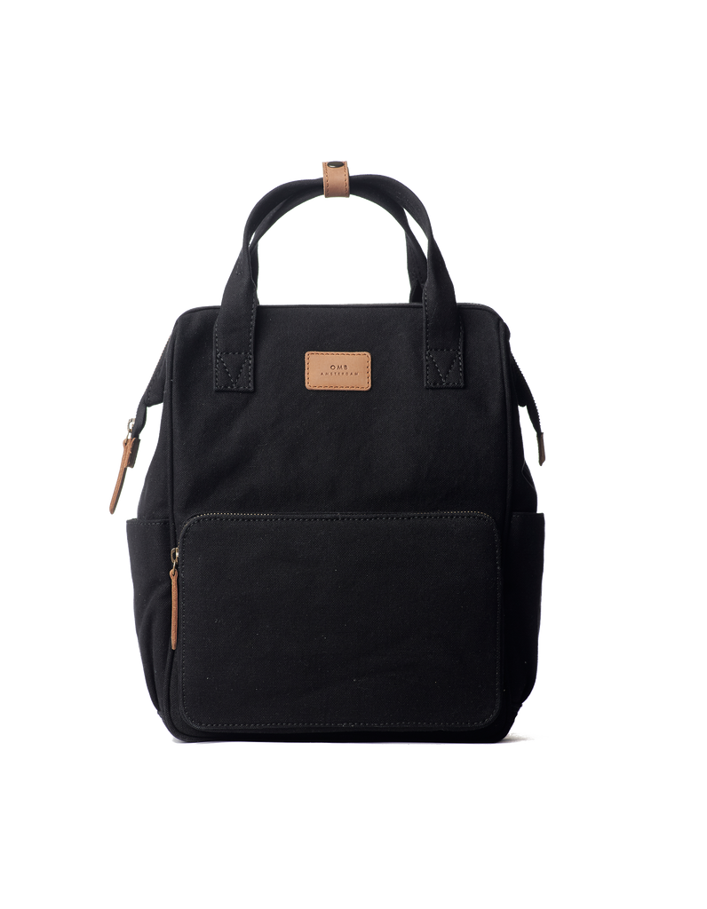 Black & Camel small canvas backpack. Front view