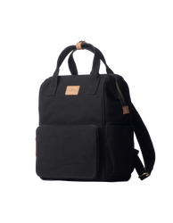 Black & Camel small canvas backpack. Side view
