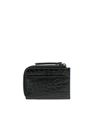 Small Black Croco coin purse. Square shape. Back image