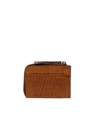 Small Cognac Croco coin purse. Square shape. Back image