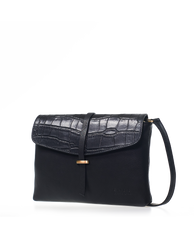 Black Classic & Croco Leather womens handbag. Square shape with an adjustable strap. Side product image.