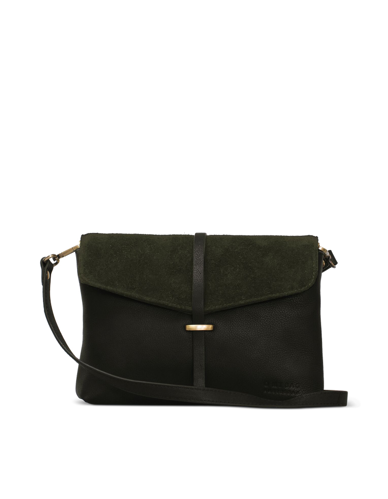 Green Soft Grain & Suede leather womens handbag. Square shape with an adjustable strap. Front product image