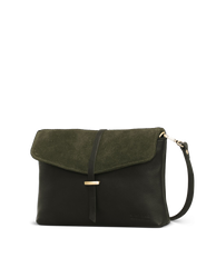 Green Soft Grain & Suede leather womens handbag. Square shape with an adjustable strap. Side product image