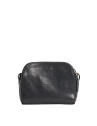 Black Leather womens handbag. Square shape with an adjustable strap. Back product image.