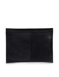 Black Leather 13'' laptop sleeve. Back product image.