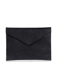 Black Leather 13'' laptop sleeve. Front product image.