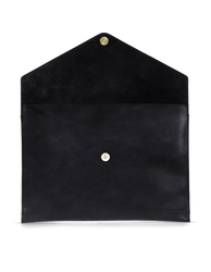 Black Leather 13'' laptop sleeve. Inside product image.