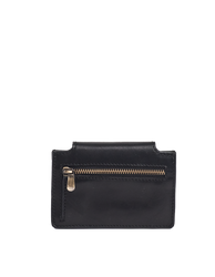 Harmonica Wallet Small Black Classic Leather by O My Bag. Square shape. Back product image