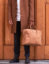 Camel Leather business bag. Model product image.