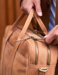 Camel Leather business bag. Lifestyle product image.