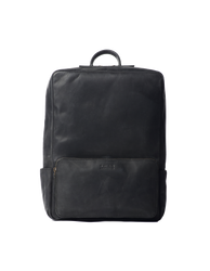 Black Leather backpack. Front product image.