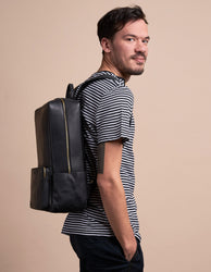 Black Leather backpack. Model product image.