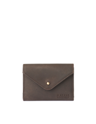 Dark Brown Leather wallet. Envelope shape. Front product image.