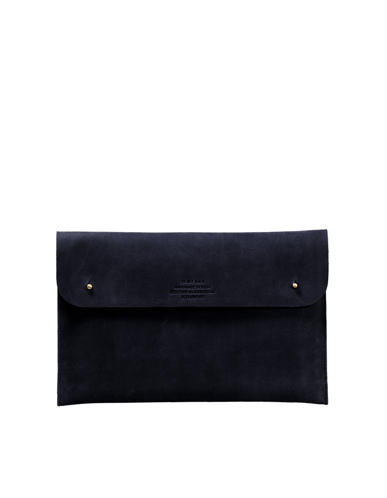 "Black Hunter leather laptop sleeve 11"". Front product image"