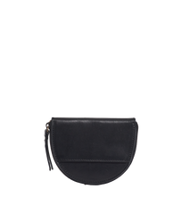 Laura Purse Black Classic Leather. Round mood shape coin purse unisex wallet. Front product image.
