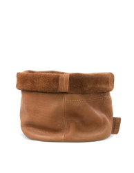 Leather Pot Wild Oak Soft Grain Leather. Round leather plant pot. Homeware by O My Bag. Front product image.