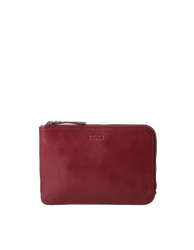 Lola Ruby Classic Leather. Small Rectangular crossbody clutch bag for women with two zipper compartments. Front product image.