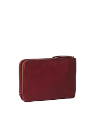 Lola Ruby Classic Leather. Small Rectangular crossbody clutch bag for women with two zipper compartments. Side product image.